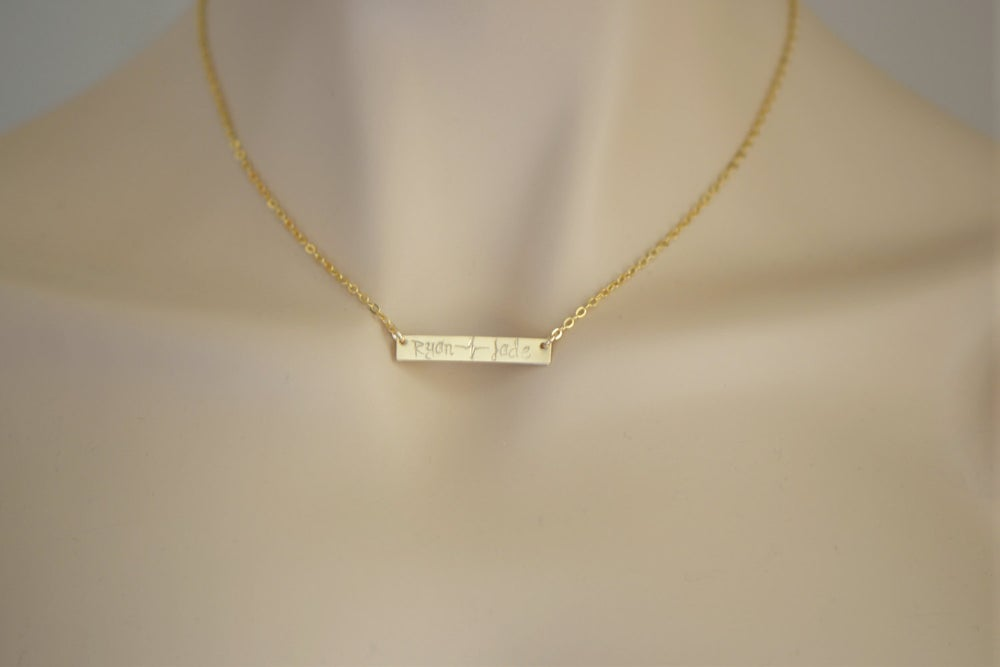 Image of Personalized Dainty Bar Necklace , Name Plate Necklace - Bar Necklace