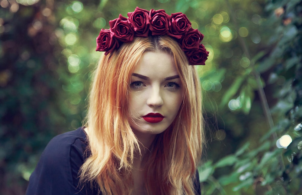 Image of Blooming Rose Crown Burgundy