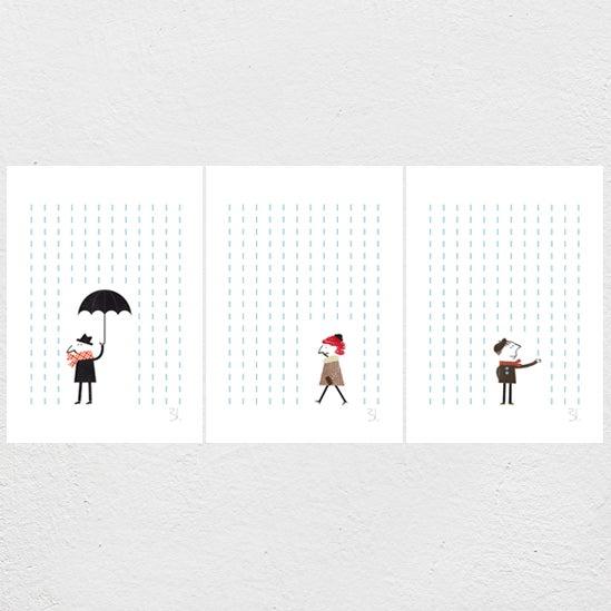Image of It's Raining Set of three Prints