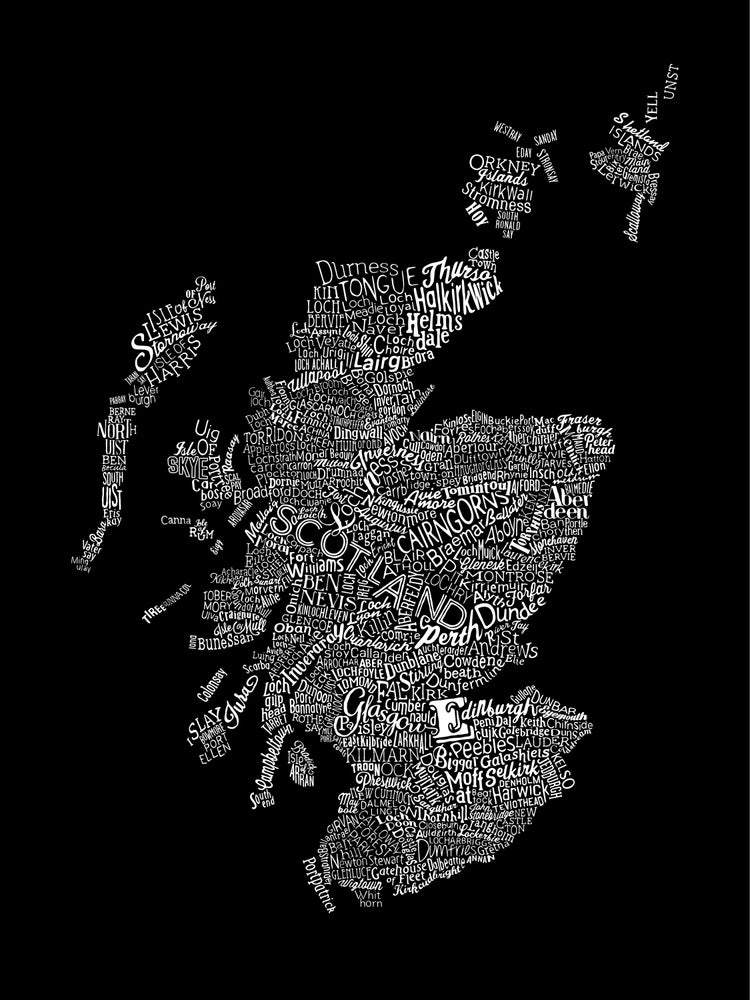 Image of Scotland Type Map (Black, 2014)