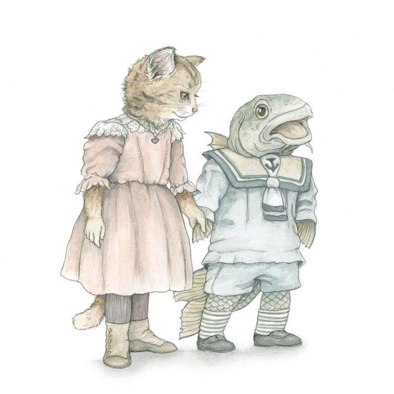 Image of Cat & Codfish: 5x7 print