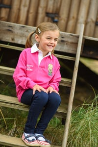 Image of Children's Long Sleeve Rugby Shirt - Pink