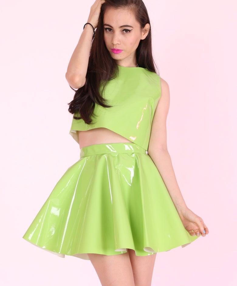 Image of Green PVC Skater Skirt (skirt only)