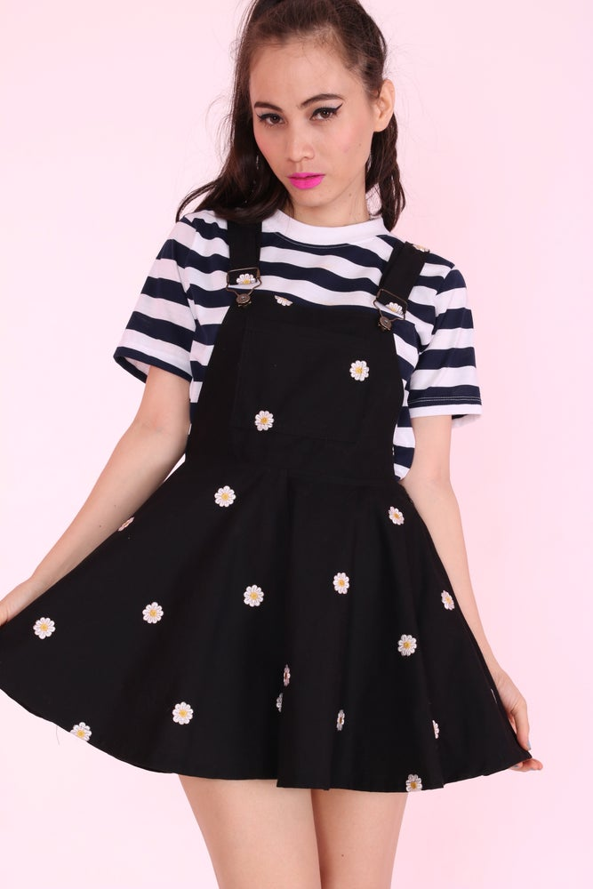 Image of Ready to post - Black Daisy Pinafore