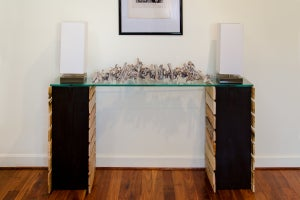 Image of 6 foot glass top console