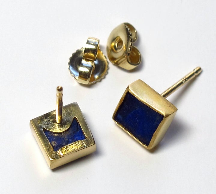 Image of Lapis Rough Square 22k Earring Studs