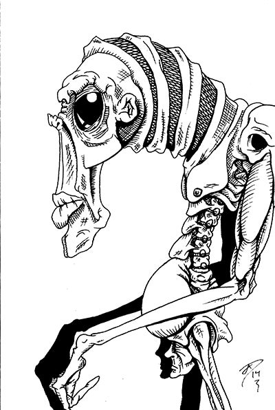"Image of ""Alien Tribesman"" Postcard (original art)"