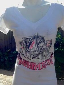 Image of Ladies- Shark City 2 White Vneck