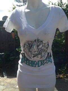 Image of Ladies- Shark City 2 White Vneck