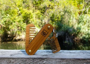 Image of Handmade Folding Wood Beard Comb Keychain - Dual Tool