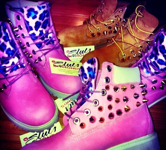 Image of Pink Timberland boots custom spiked w/leopard