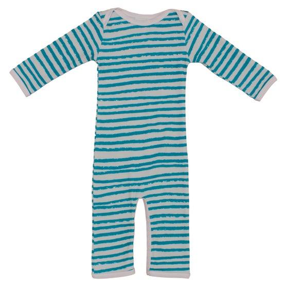 Image of Jumpsuit bébé garçon Noé&Zoé à rayures bleues
