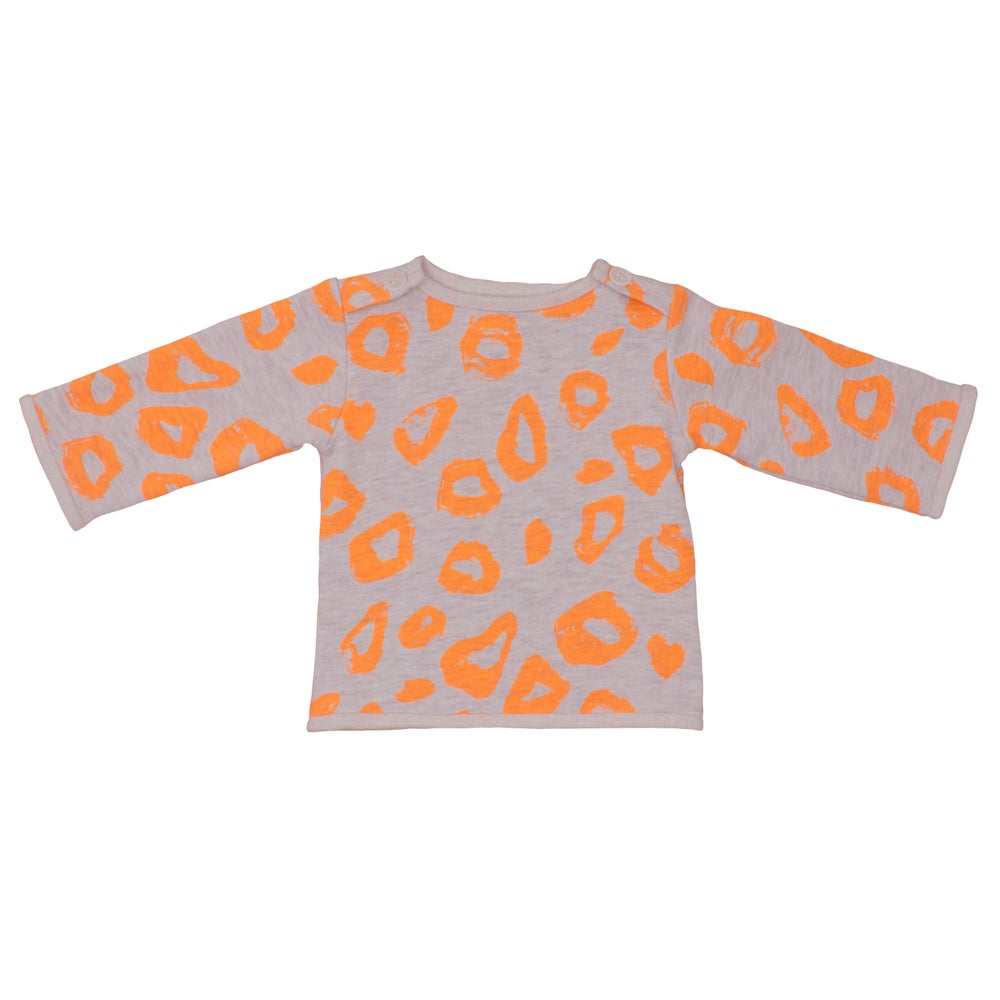 Image of Sweat-shirt bébé garçon Noé&Zoé léopard orange