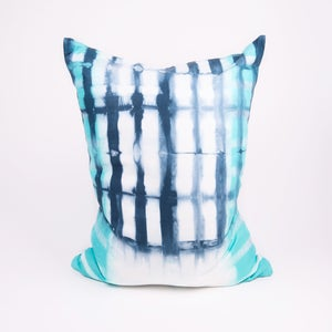 Image of Turquoise stripe with navy plaid pillow
