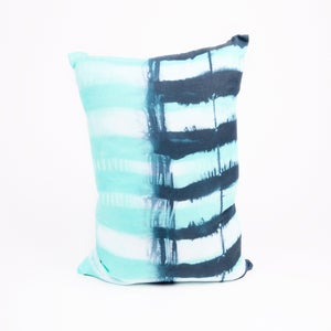 Image of turquoise and navy stripe pillow