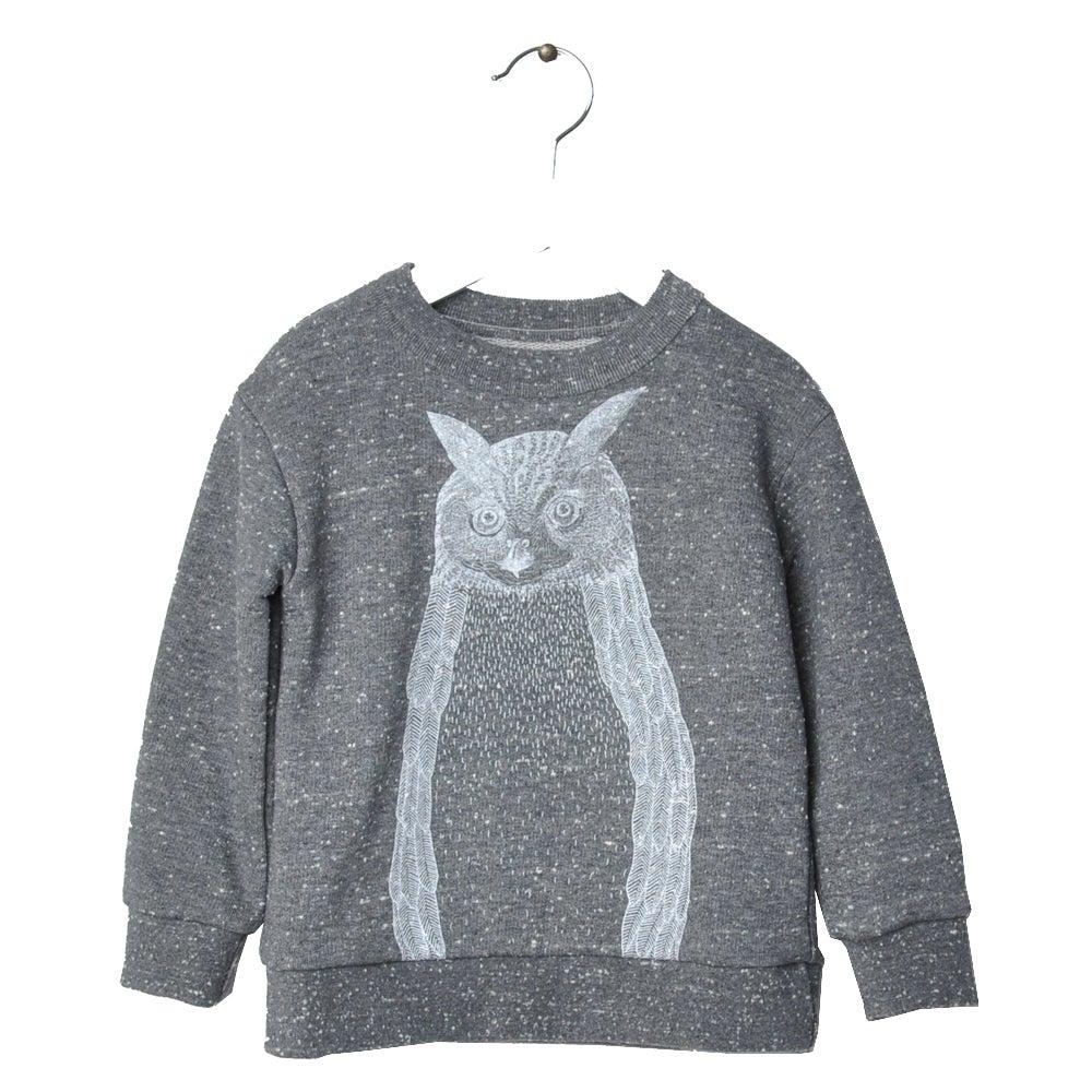 "Image of Sweat-shirt bébé garçon Hebe ""Matiss"" hibou gris chiné"