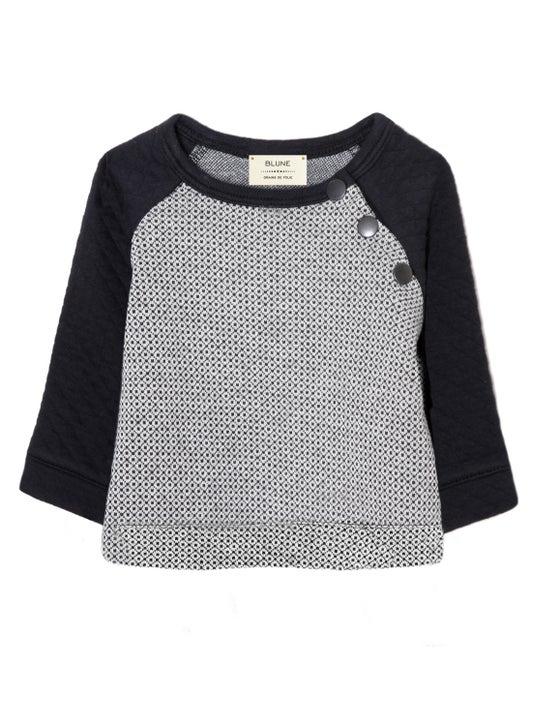 """Image of Sweat-shirt col rond bébé garçon Blune """"Grain de Folie"""" gris / noir"""