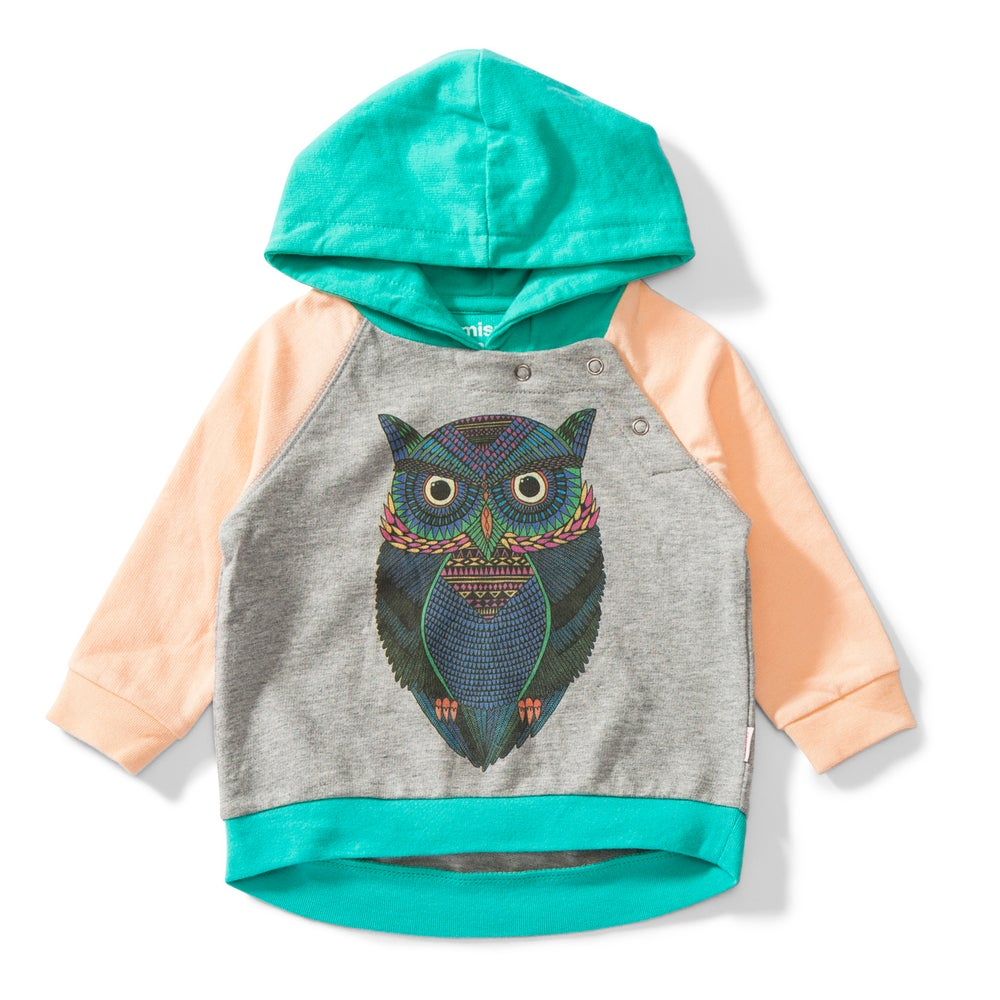 "Image of Sweat-shirt capuche hoodie hibou gris multicolore bébé garçon Munsterkids ""Wide Eyed"""