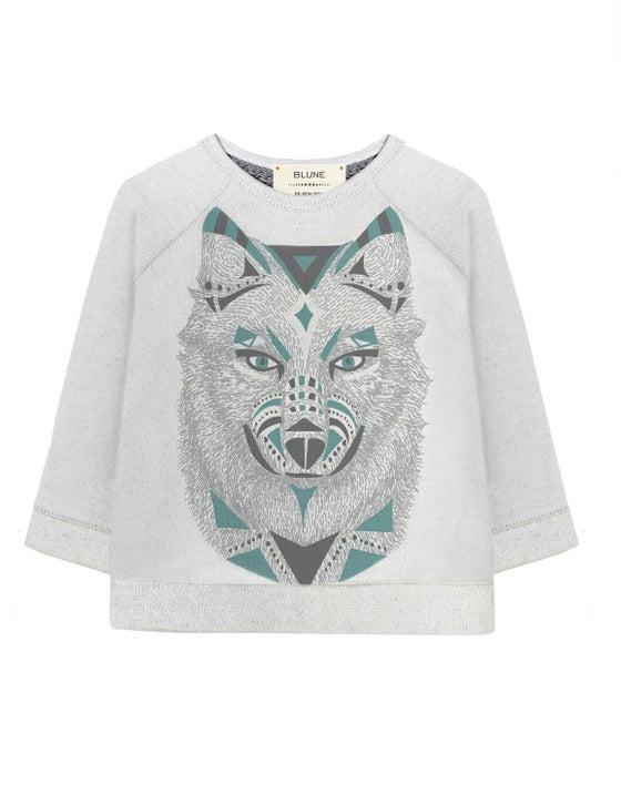 """Image of Sweat-shirt col rond bébé garçon Blune """"De Bon Poil"""" gris"""