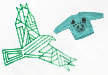 """Image of Sweat-shirt panda vert menthe bébé garçon Munsterkids """"Lil Panda"""""""