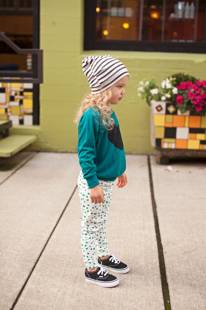 Image of ORGANIC COTTON Emerald + WHITE MINI HEART CUFFED LEGGINGS