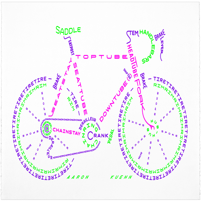 Image of Bicycle Typogram - #9 - 3 Color - Limited Edition Print