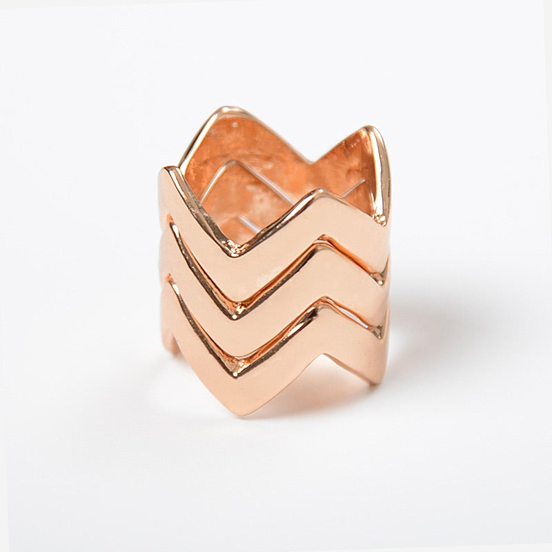 Image of Stacked Rose Gold Chevron Ring