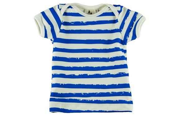 Image of Tshirt manches courtes garçon Noé & Zoé à rayures bleues