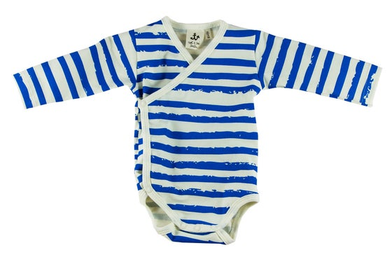 Image of Body manches longues bébé garçon Noé & Zoé à rayures bleues