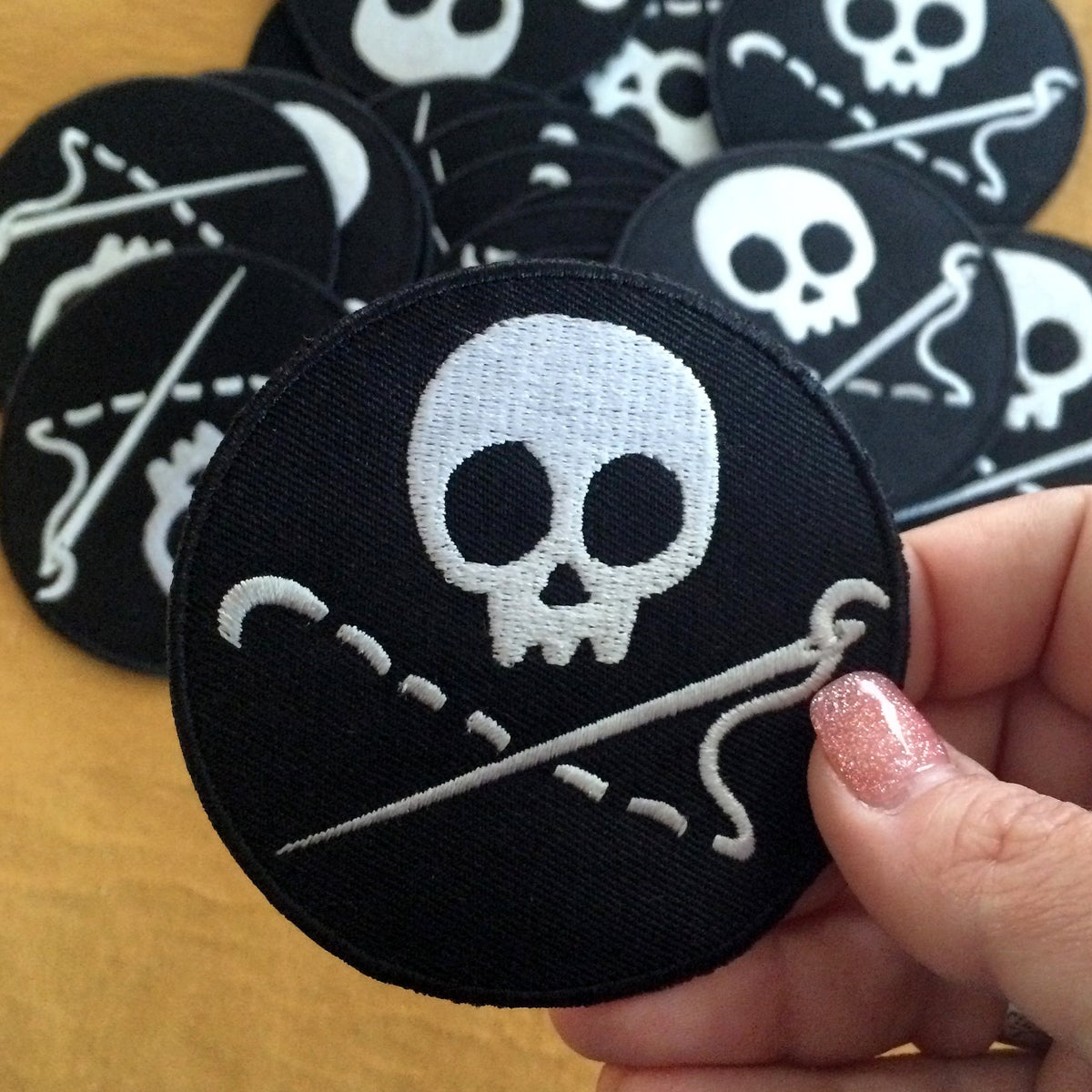 Image of Sewing Skull Merit Badge / Patch