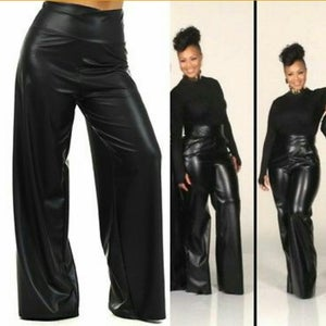Image of PLUS SIZE High Waist Faux Leather Palazzo Pants