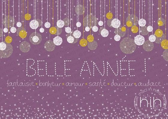 Image of lot 5 cartes de voeux *glitter* / violet