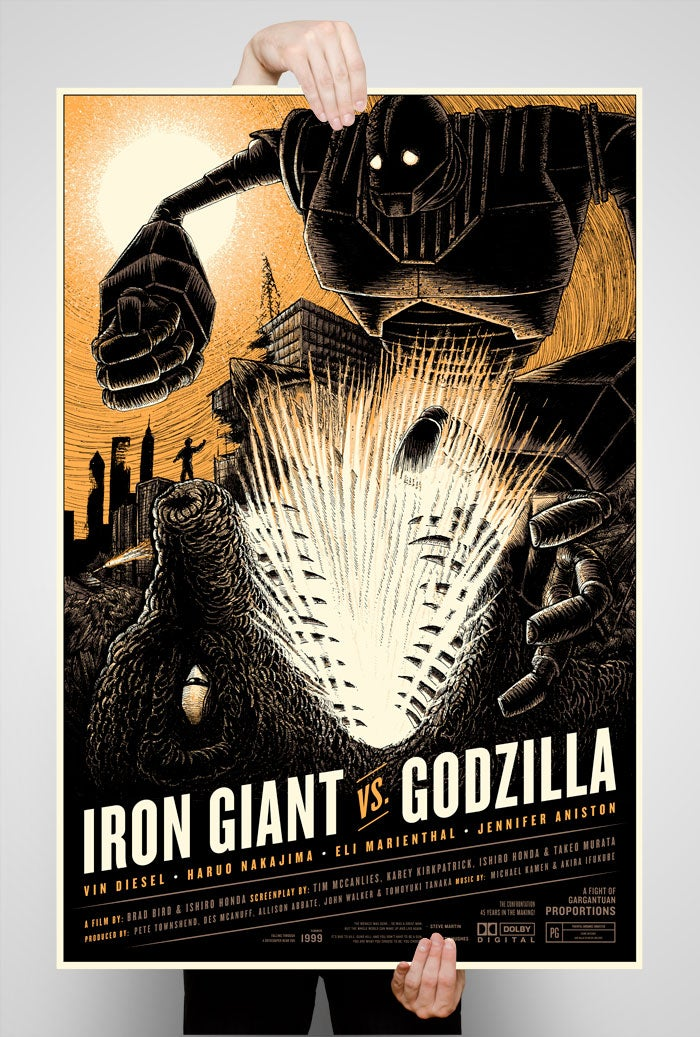 Image of Iron Giant vs. Godzilla 24x36 Screen Printed Poster