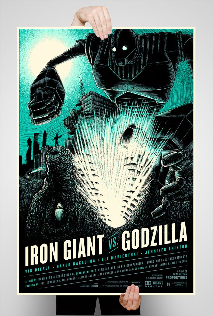 Image of Iron Giant vs. Godzilla Variant 24x36 Screen Printed Poster