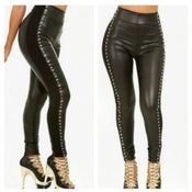 Image of High Waist Studded Faux Leather Leggings