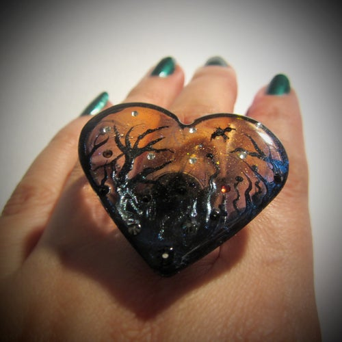 Image of Autumn Lights Transparent Resin Heart Ring