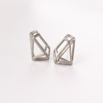 Image of Sterling Silver DIAMOND STRUCTURE Posts