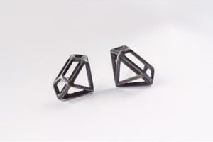 Image of Oxidized Sterling Silver DIAMOND STRUCTURE Posts