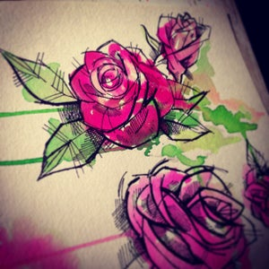 "Image of (Large) ""Mini"" PINK watercolor rose painting"