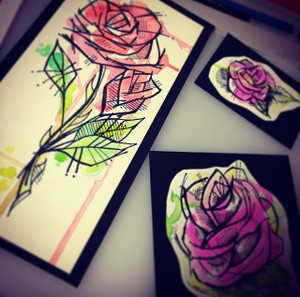 """Image of (Small) """"Mini"""" PINK Watercolor Rose painting"""