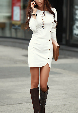 Image of Hot fashion Round collar single-breasted split long sleeve package buttocks dress