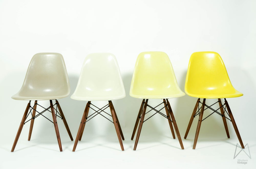 Image of Herman Miller Set of 4 Side Chair in different colors Vintage fiberglass for sale