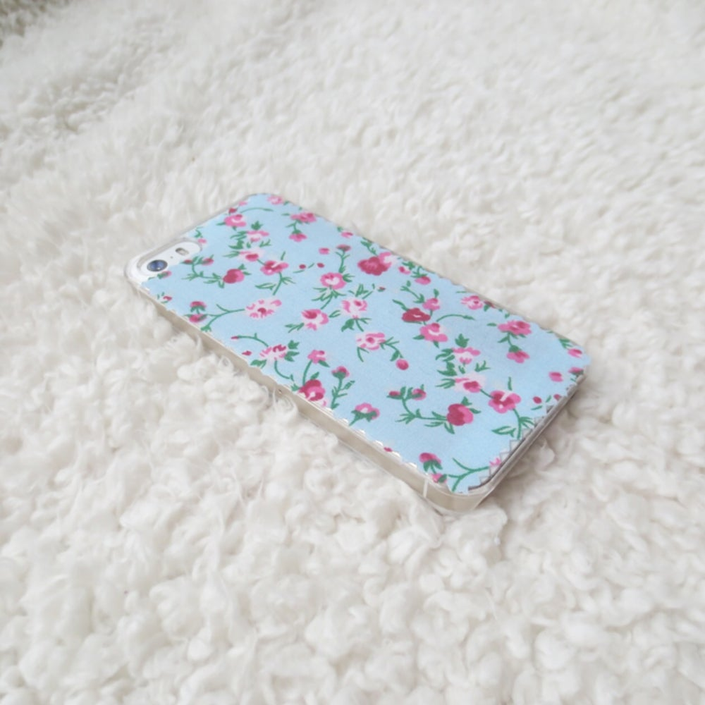 Image of Pink and blue floral fabric phone case for iPhone 5/5s