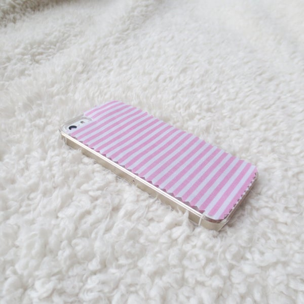 Image of Horizontal pink and white striped fabric phone case for iPhone 5/5s