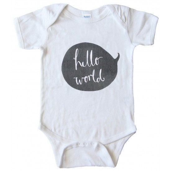 Image of PREORDER for the 'Hello World' Newborn Bodysuit