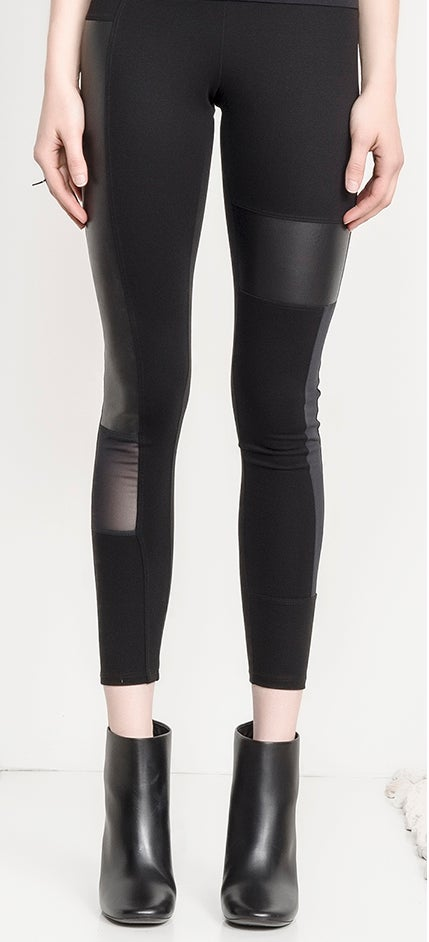 Image of Block Leather Mesh Legging