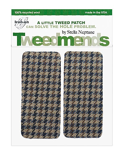 Image of Iron-On Wool Elbow Patches - Vintage Brown Houndstooth - Limited Edition!