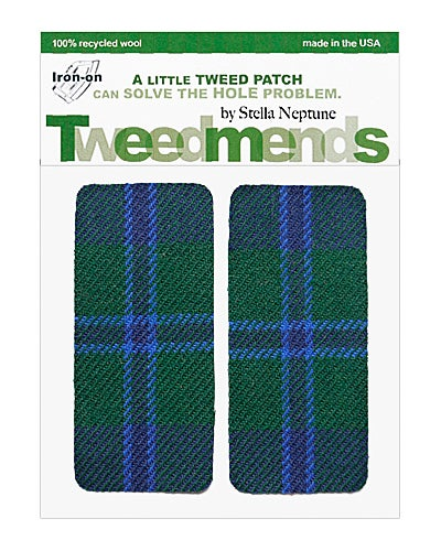 Image of Iron-On Wool Elbow Patches - Blue Green Plaid- Limited Edition!