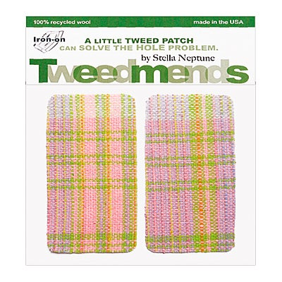 Image of Iron-On Wool Elbow Patches - 60's Pink & Green Plaid - Limited Edition!