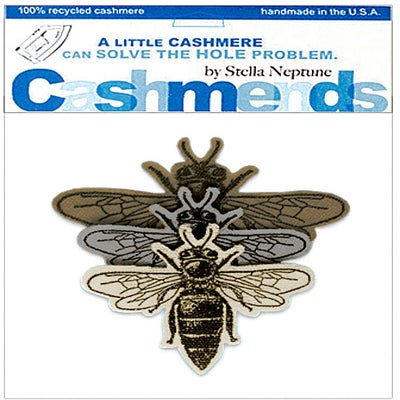 Image of Iron-On Cashmere Bees - Brown, Grey, Cream